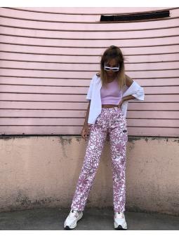 Pantalon large à fleurs roses